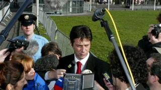 Murdered Serbian lawyer, Dragoslav Ognjanovic, seen here at The Hague in 2002