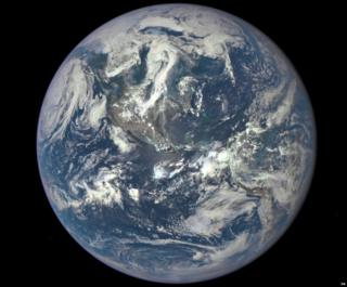 Earth photographed from one million miles way by a NASA camera