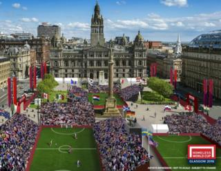 Artists impression of George Square during the Homeless World Cup