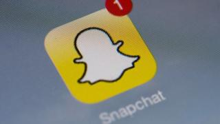 Snapchat symbol on a smart phone screen