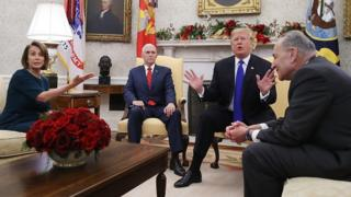 Nancy Pelosi, Mike Pence, Donald Trump and Chuck Schumer
