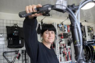 Roz McGuigan in a bike shop