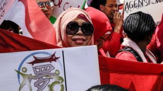 印尼外勞在台北參與爭取勞工權益遊行(資料圖片)