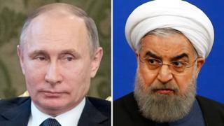 Vladimir Putin y Hassan Rouhani