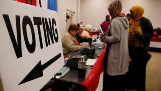 Local de votação antecipada nos EUA