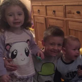 Four-year-old Evie-Lily Crompton (left) and nine-year-old Morgan Lund (centre), who both died in the crash, and two-year-old Kyle Crompton (right)