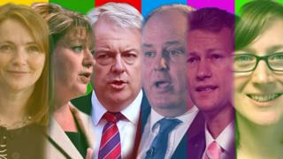 Six Welsh party leaders - Kirsty Williams, Leanne Wood, Carwyn Jones, Andrew RT Davies, Nathan Gill and Alice Hooker-Stroud