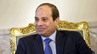 "Egypt""s President Abdel Fattah al-Sisi sits before a meeting with U.S. Secretary of State John Kerry"