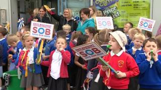 Schoolchildren protest the plan to close beds in Maryport in 2016