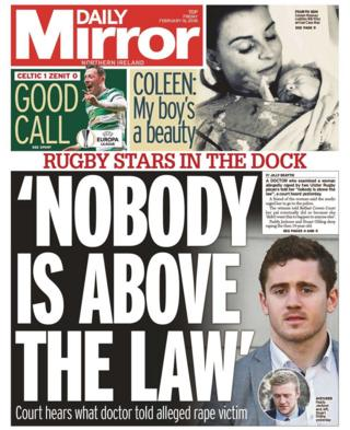 Front page of the Daily Mirror, Friday 16 February 2018