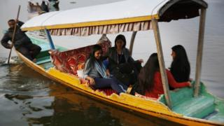 A delegation of European Union lawmakers takes a local shikara ride in the Dal Lake, on October 29, 2019 in Srinagar