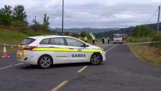 Garda at the scene of the crash
