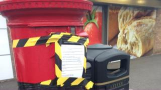 Taped up post box