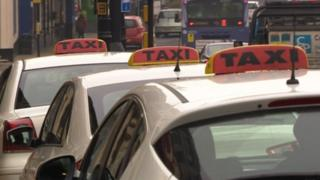 Taxis in Rotherham town centre