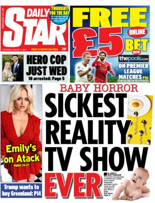 Front page of the Star