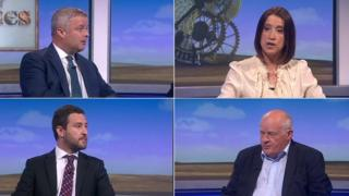 Four of the candidates seeking to be the new MP for Brecon and Radnorshire: Clockwise - Chris Davies, Conservative Party; Jane Dodds, Liberal Democrat Party; Des Parkinson, Brexit Party; Tom Davies, Labour Party