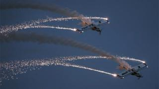 The Fireflies aerobatic display team perform last night at the Sunderland International Airshow