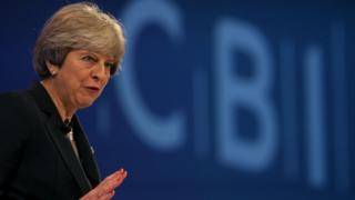 Theresa May at CBI conference