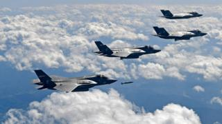 US F-35B fighter jets drop GBU-32 bomb during a training at the Pilsung Firing Range on September 18, 2017