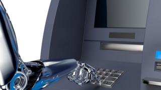 Robot using cash machine