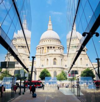 St Paul's cathedral framed by the One New Change shopping centre