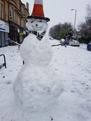 Snowman with cone and irnbru