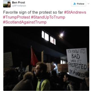 """""""You know it's bad when it is protested in St Andrews"""" reads a sign at a protest in St Andrews"""