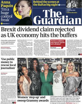The Guardian front page 12/02/19