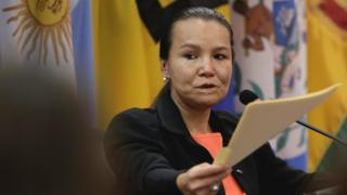 Linda Loaiza el 6 de febrero de 2018 rindiendo su testimonio ante la Corte Interamericana de DDHH.