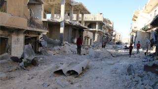 Bomb damage in rebel-held east Aleppo, 1 October