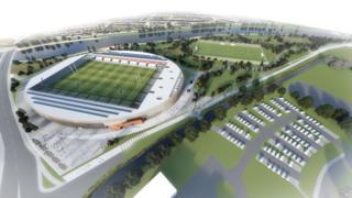 Artist's impression of the proposed 8,000-capacity stadium in Workington