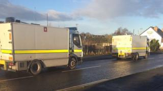 Army bomb experts driving away from the scene in Lurgan