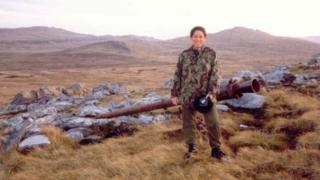 Dorothy in the Falkland Islands by an abandoned Argentinean artillery piece