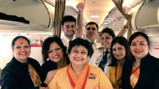 Image of the crew on the Air India flight