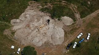Aerial view of site where bodies found - 10 September
