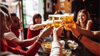 Drinkers in bar