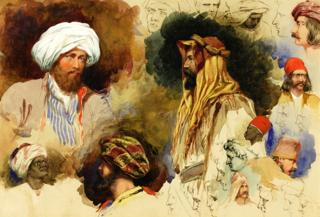 Portrait studies of figures in Eastern Costume (1842), by Richard Dadd (on loan from Winchester College)