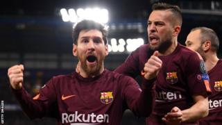 Lionel Messi celebrates scoring for Barcelona against Chelsea