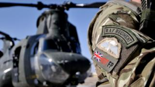A gunner of II Squadron (RAF Regiment) MERT Force