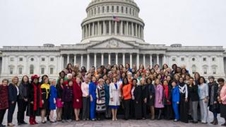 Democratic Speaker of the House Nancy Pelosi (C) poses for a photograph with Democratic women on 4 January 2019