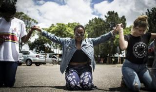 Student protestors at the University of Pretoria in 2016.
