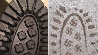A Reddit image shows the City of Industry Polar Fox boot and its tread with tiny swastika imprints.