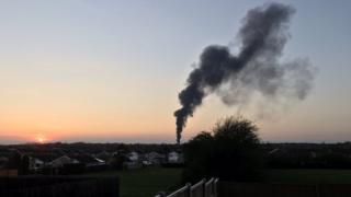 Fire near Melton Mowbray