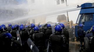 Water canon fired at protesters