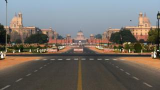 A deserted road in Delhi
