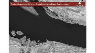 خريطة لنهر الفرات في مدينة دير الزور