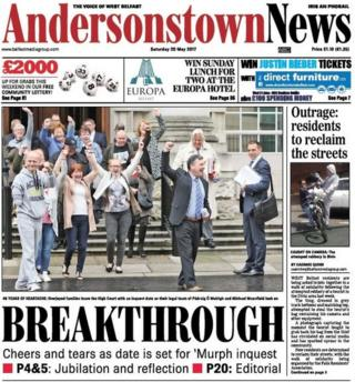 Andersonstown News front page, 20 May