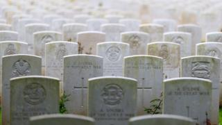 "Gravestones commemorating solider""s buried in Delville Wood cemetery"