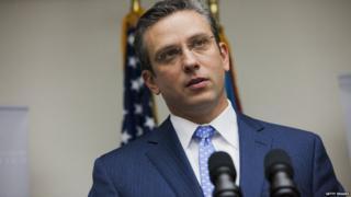 Governor Alejandro Garcia Padilla speaks to press at his mansion in Puerto Rico - 14 November 2013