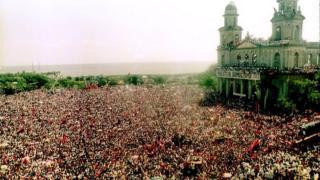 Celebración de 13 aniversario de la Revolución sandinista, en 1993.